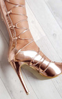 Saskia Metallic Lace Up Heels Thumbnail