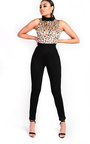 Veronica Slim Leg Embroidered High Neck Jumpsuit Thumbnail