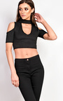 Zerin Cold Shoulder Choker Crop Top Thumbnail