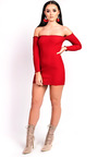 Loudria Bardot Stretch Mini Dress Thumbnail