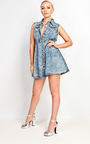 Shaya Denim Collar Skater Dress Thumbnail
