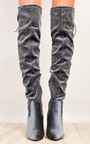 Fawn Velour Knee High Boots  Thumbnail