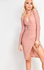 Evy Choker Gathered Bodycon Dress Thumbnail