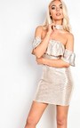 Farah Off Shoulder Metallic Bodycon Dress Thumbnail