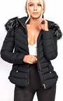 Poppy Padded Fur Collar Jacket Thumbnail