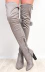 Blaire Pompom Faux Suede Knee High Boots  Thumbnail