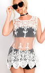 Alezza Crochet  Embroidered Mesh Cover Up Top Thumbnail