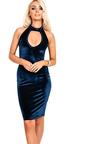 Cailey Velour Choker Neck Bodycon Dress Thumbnail