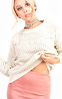 Sara Knitted Distressed Jumper Thumbnail