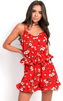 Cindy Floral Frill Playsuit Thumbnail
