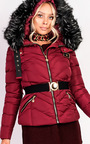 Elisia Padded Faux Fur Hooded Belted Jacket Thumbnail