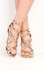 Genevieve Strappy Chrome High Heels  Thumbnail