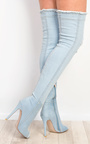 Ciara Denim Thigh High Boots  Thumbnail