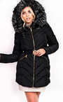 Stella Padded Faux Fur Hooded Belted Jacket Thumbnail