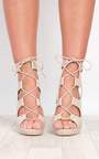 Oralia Block Lace-Up Heels  Thumbnail