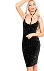 Leonia Velour Choker Neck Bodycon Dress Thumbnail