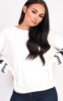 Robyn Embroidered Panel Sleeve Knitted Jumper  Thumbnail