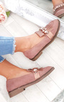 Misty Faux Suede Embellished Flat Pumps Thumbnail