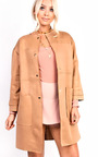 Carmellia Collarless Faux Suede Jacket Thumbnail