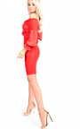 Carlina Bardot Stretch Long Sleeved Frill Dress Thumbnail