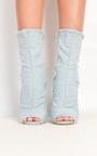 Dena Denim Frayed Peep Toe Heeled Ankle Boots Thumbnail