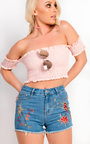 Abbie Bardot Frilled Stretch Crop Top Thumbnail
