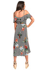 Julia Floral Frill Sleeve Wrap Front Midi Dress Thumbnail