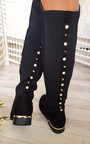 Cleo Faux Suede Studded Knee High Boots Thumbnail