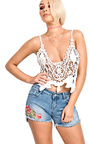 Demi Denim Embroidered Shorts Thumbnail
