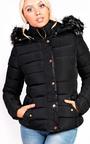 Selina Padded Faux Fur Popper Hooded Jacket Thumbnail