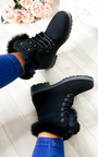 Josie Faux Fur Lace Up Boots Thumbnail