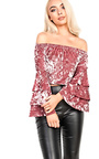 Adele Velour Off Shoulder Crop Top Thumbnail