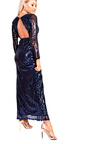 Olivia Sequin Plunge Evening Maxi Dress Thumbnail