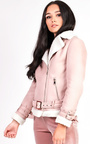 Bliss Biker Faux Suede Fur Jacket Thumbnail
