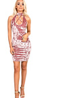Amrezy Crushed Velvet Strappy Bodycon Dress Thumbnail
