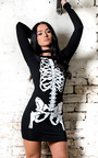 Skeleton Print Fancy Dress Thumbnail