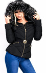 Sylvia Padded Faux Fur Hooded Belted Jacket Thumbnail