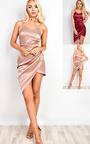 Missy Asymmetric Satin Dress Thumbnail