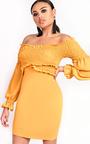 Carlina Bardot Stretch Long Sleeved Frill Dress Thumbnail