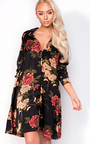 Melody Oversize Satin Floral Shirt Dress Thumbnail