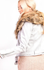 Brienna Faux Fur Suede Biker Jacket Thumbnail