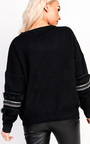 Kylie Embroidered Panel Sleeve Knitted Jumper  Thumbnail