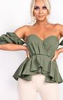 Beriska Bardot Ruffle Sleeve Peplum Top  Thumbnail