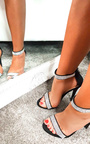 Vera Diamante Chrome Strap Barely There Heels Thumbnail