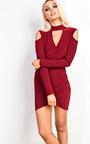 Alessandra Cold Shoulder Gathered Bodycon Dress Thumbnail