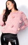 Jesse Faux Fur Pom Pom Knitted Jumper Thumbnail