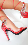 Sasha Barely There Diamante Lace Up Heels Thumbnail