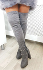 Ninita Faux Suede Studded Tie Knee High Boots  Thumbnail