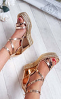 Annie Rose Gold Strappy Wedges Thumbnail