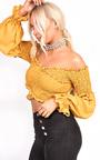 Karmen Bardot Stretch Long Sleeved Frill Crop Top Thumbnail
